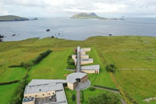 Aerial View of the Blasket Centre on Axis with Great Blasket Island in the background