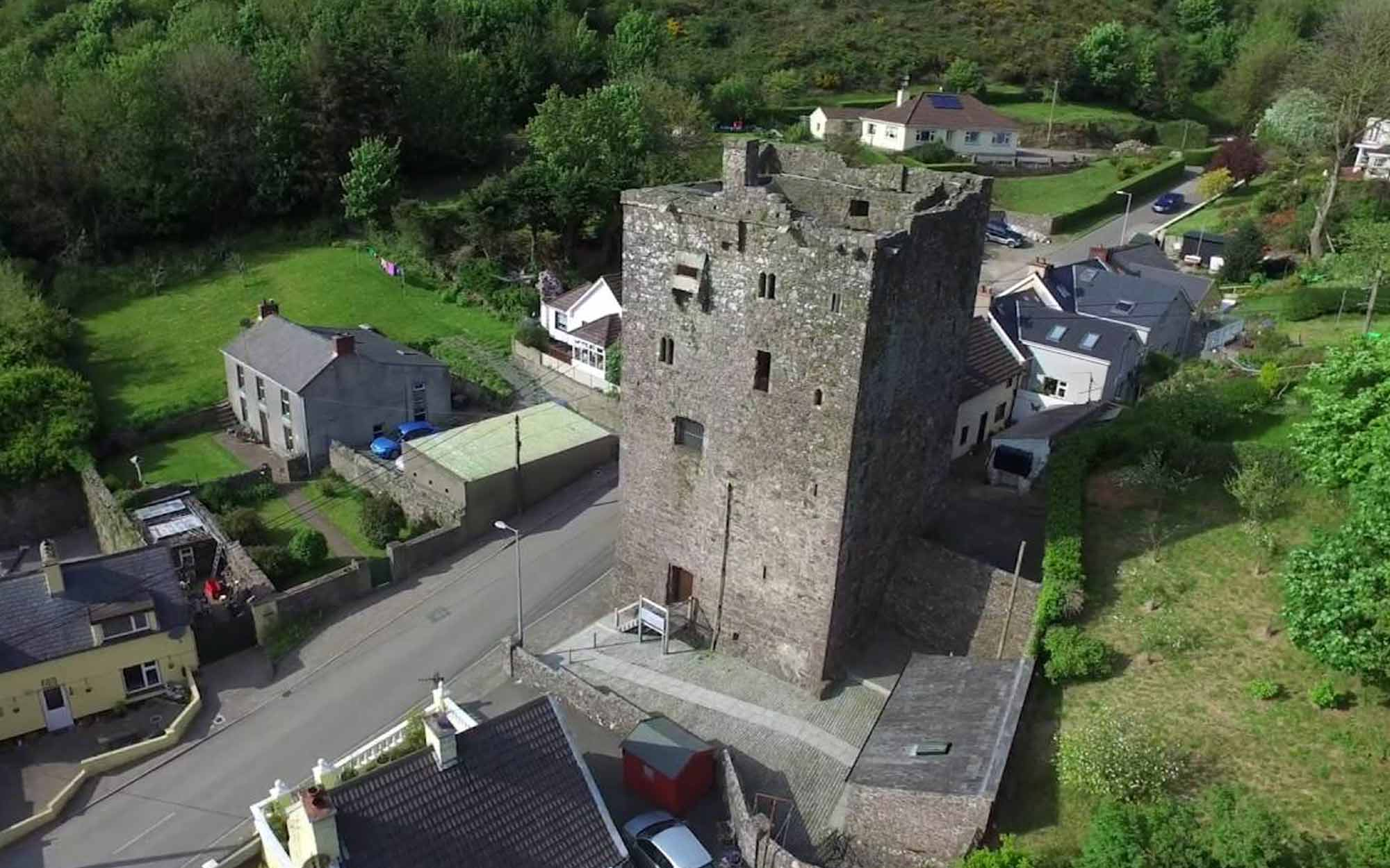 Aerial shot of Ballyhack Castle