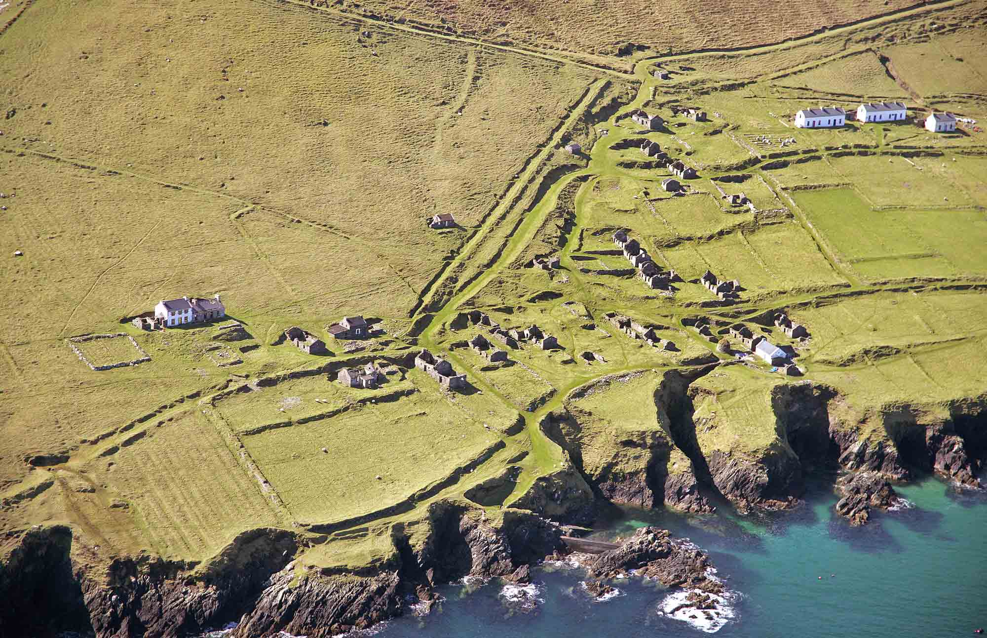 Aerial view of ruins on the Blasket Islands