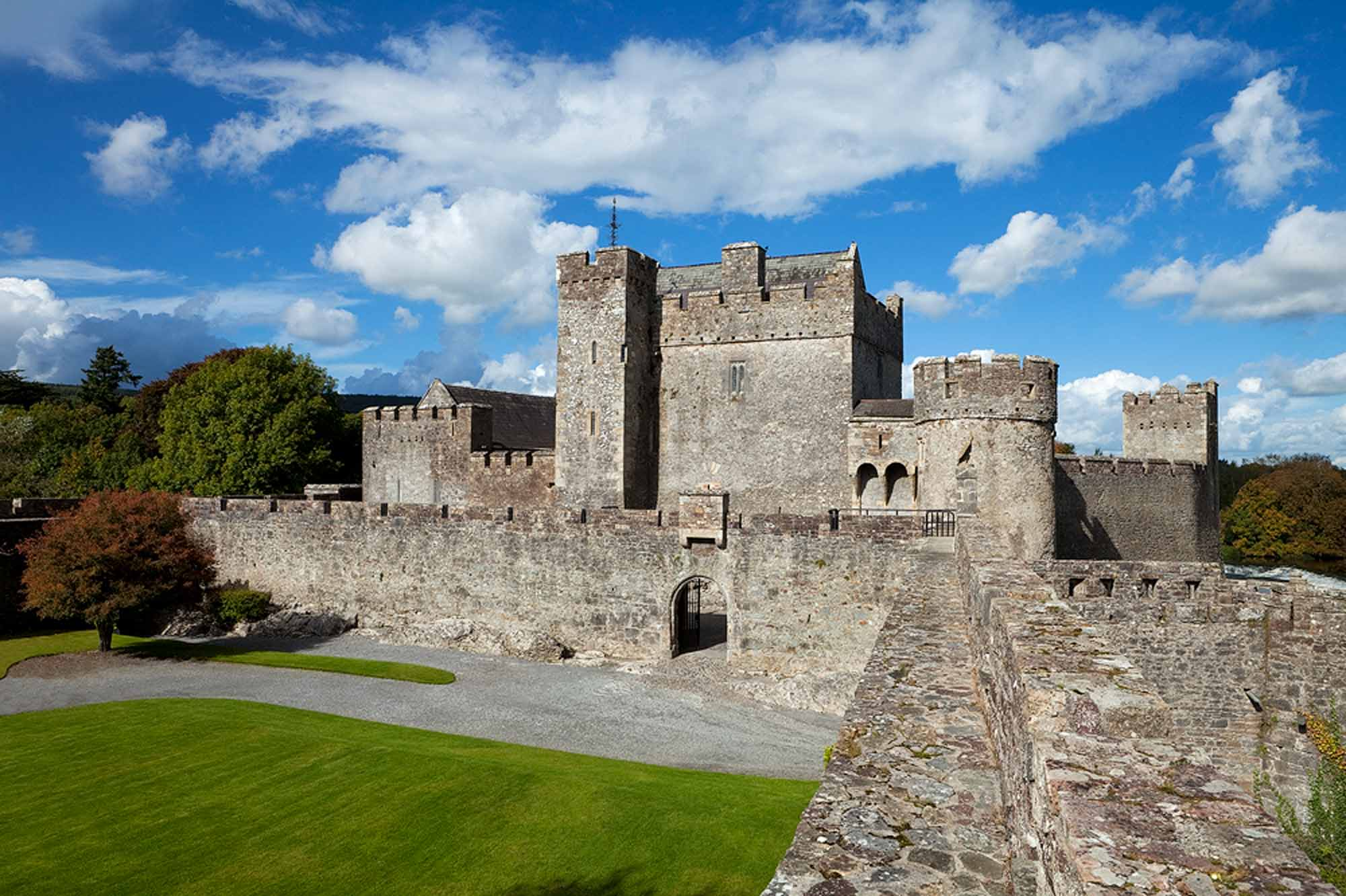 View of Cahir Castle from along the walls.