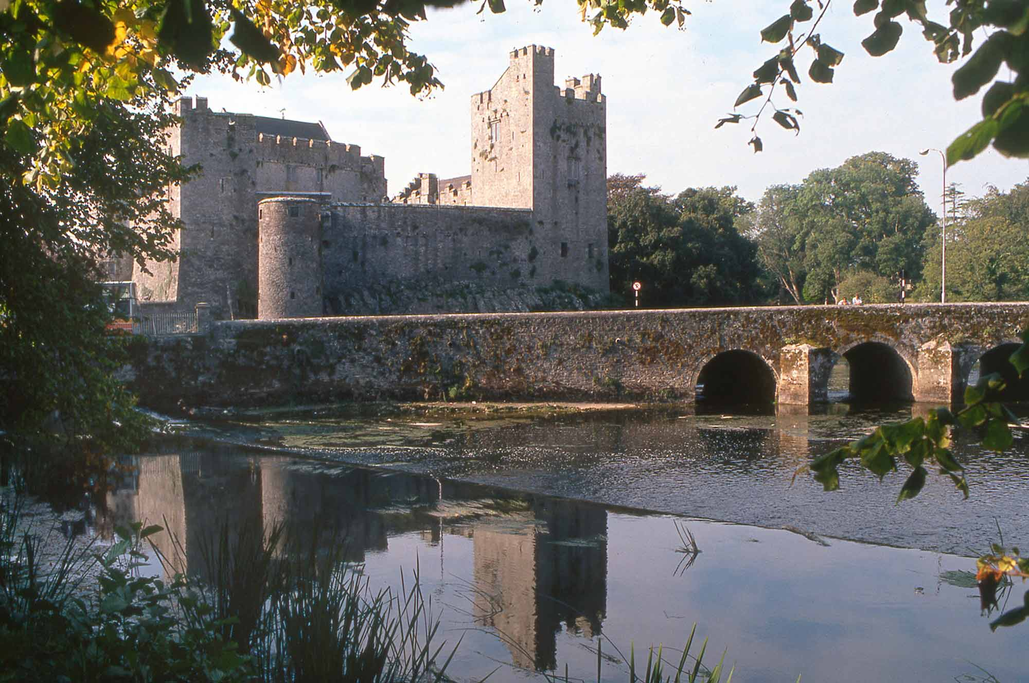 View of Cahir Castle from the banks of the River Suir.