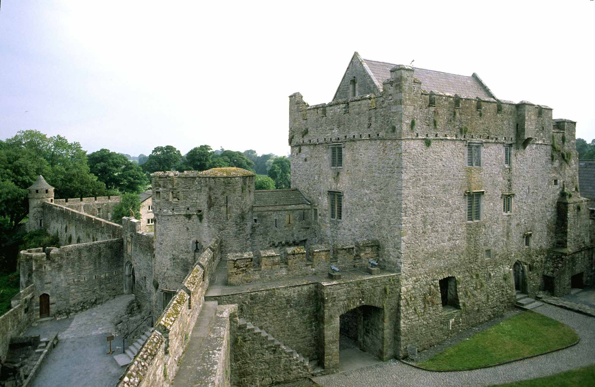 View of Cahir Castle from along the castle walls