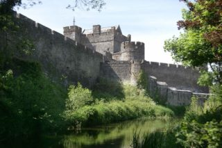 View of the moat running along Cahir Castle