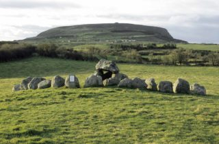 Carrowmore with Queen Maeve's Cairn on Knocknarea in background