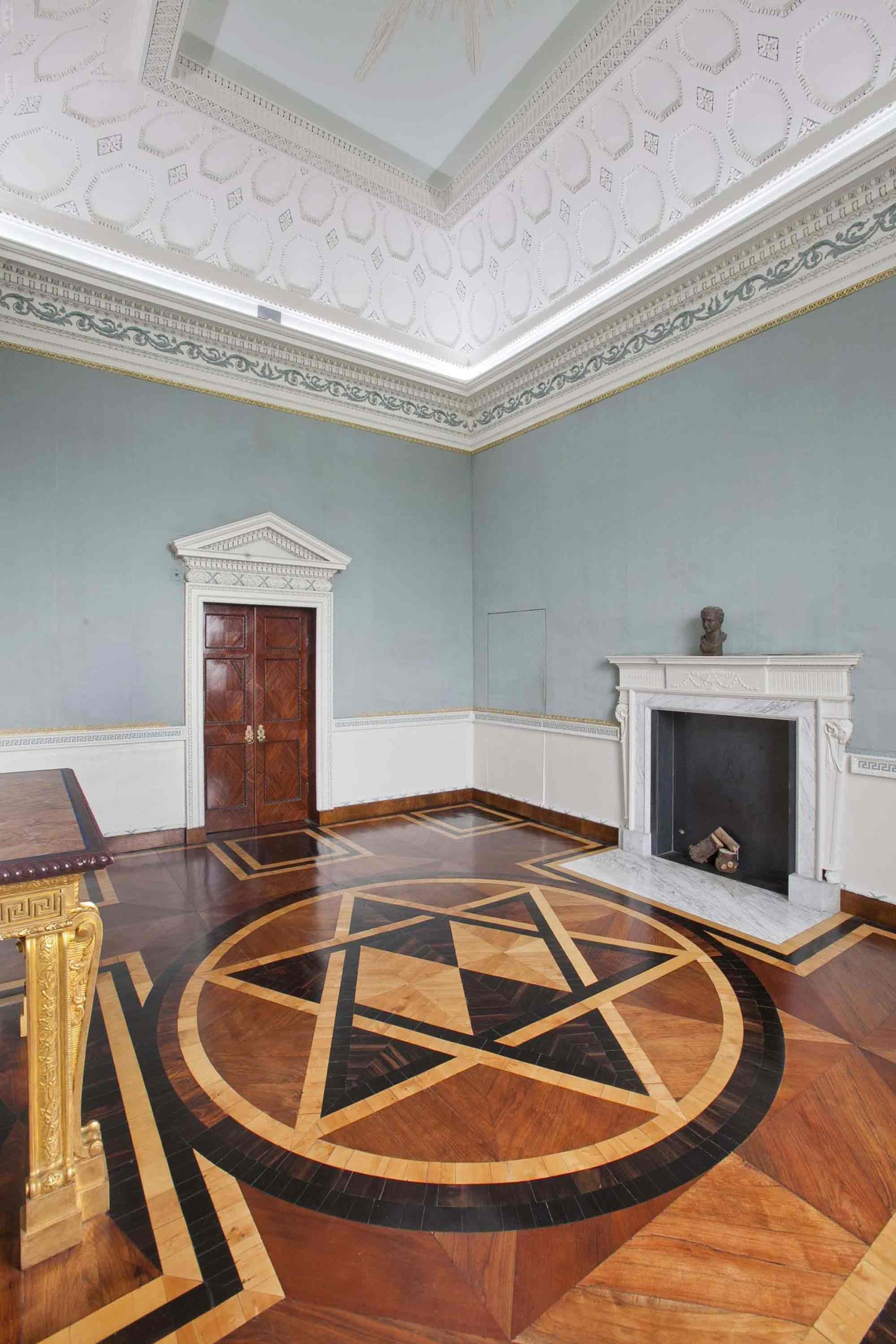Blue Saloon with inlaid marquetry floor