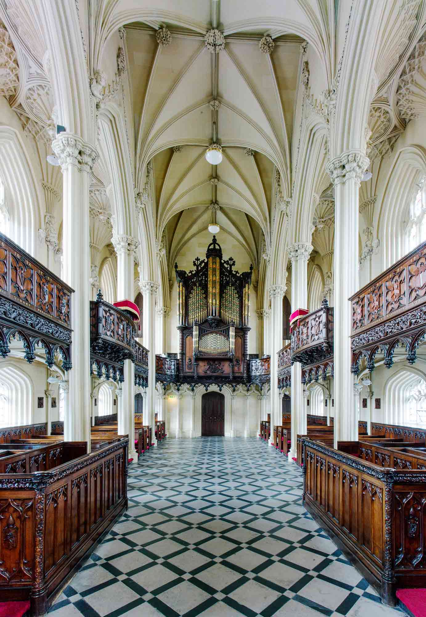 Back of chapel with view of balcony, organ and ceiling and