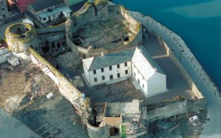 Aerial view of Dungarvan Castle during restoration works.