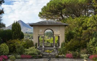 Back of the Italian garden with scenic views in the background