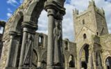 Human figures carved into the columns in the Cloister at Jerpoint Abbey