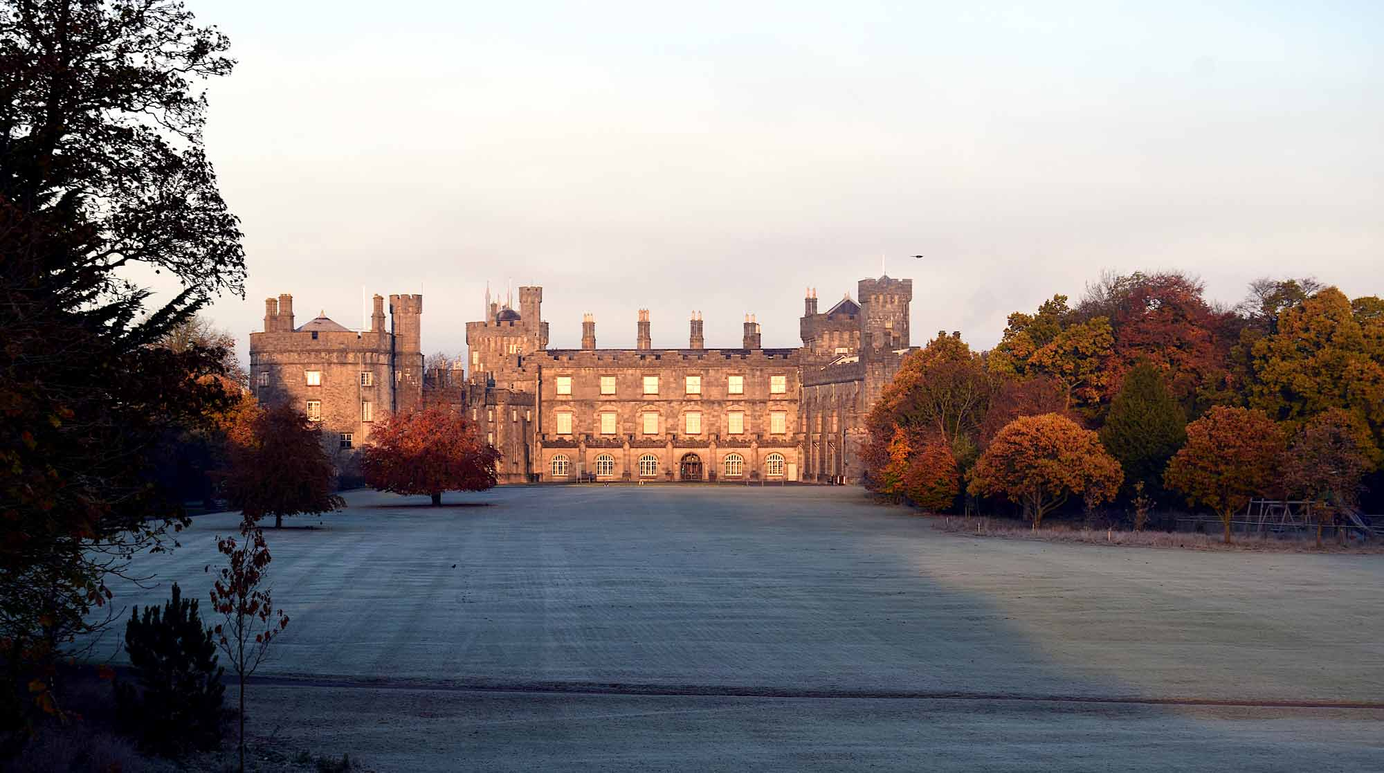 View of the front of Kilkenny Castle on a bright frosty morning