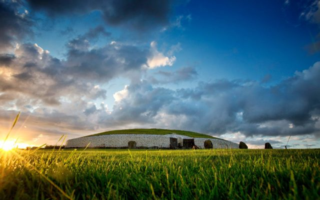 Low lying view of the front the Newgrange monument