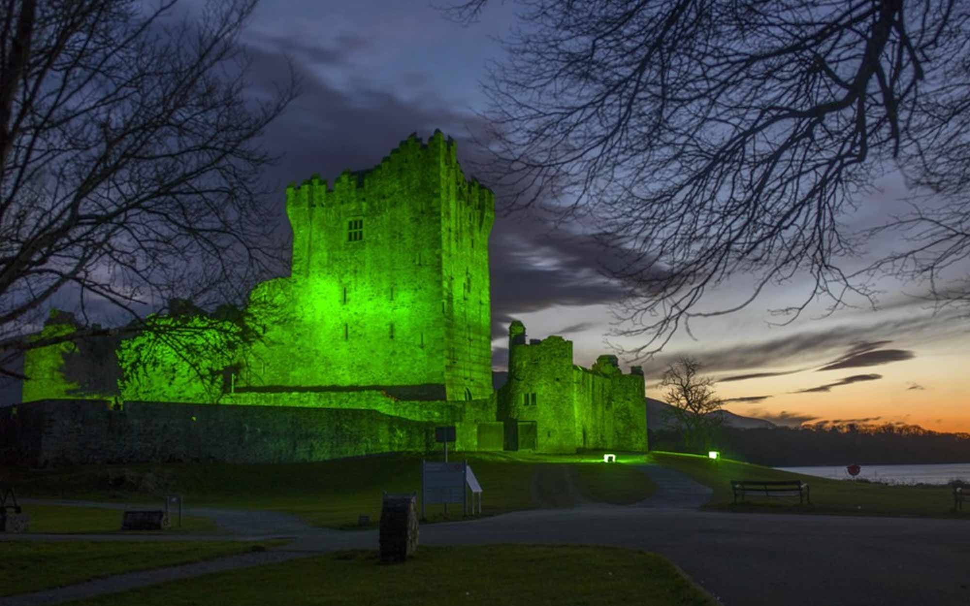 Ross Castle lit up green