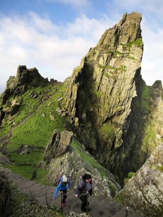Walking up the Skellig steps