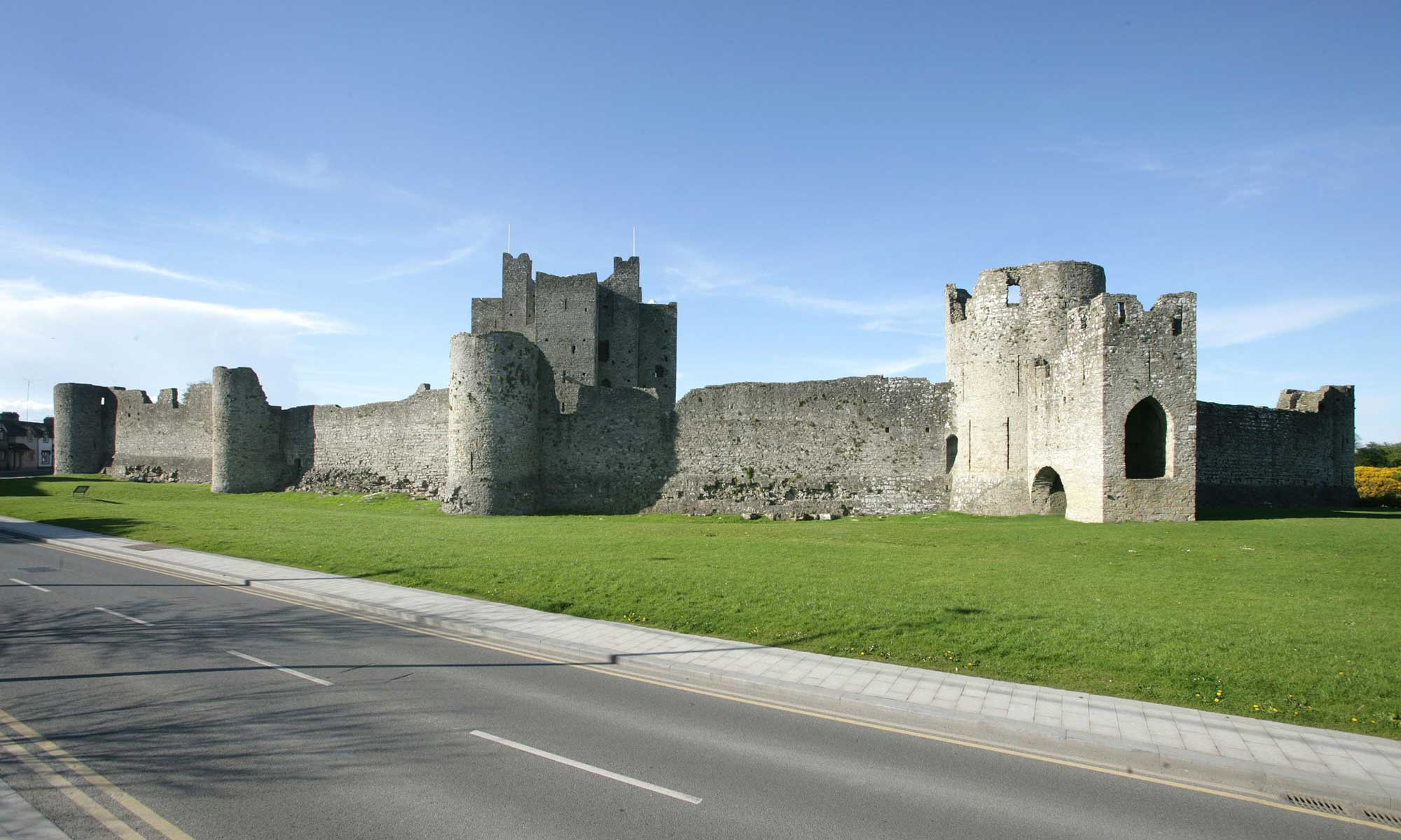 The walls of Trim Castle with the Barbican Gate