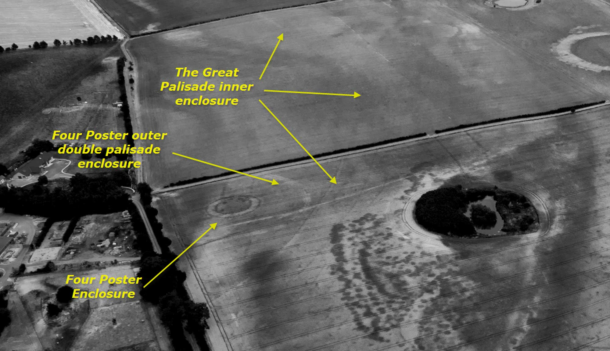 Annotated image showing view of triple palisade, looking south-east.