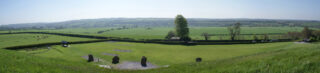 Panoramic view from the passage tomb at Newgrange.