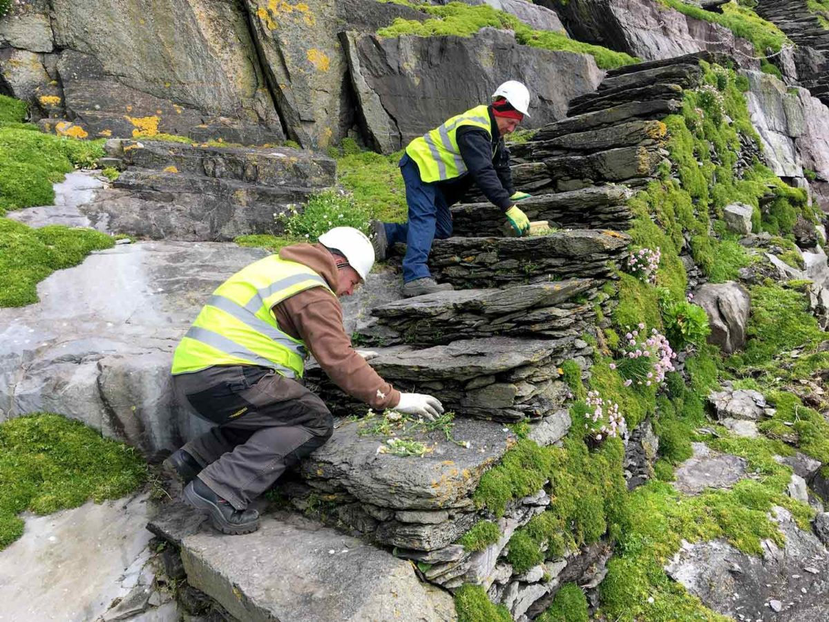 Work being carried out at Skellig Michael by OPW's National Monuments District