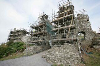 Scaffolding surrounding the Rock of Dunamase