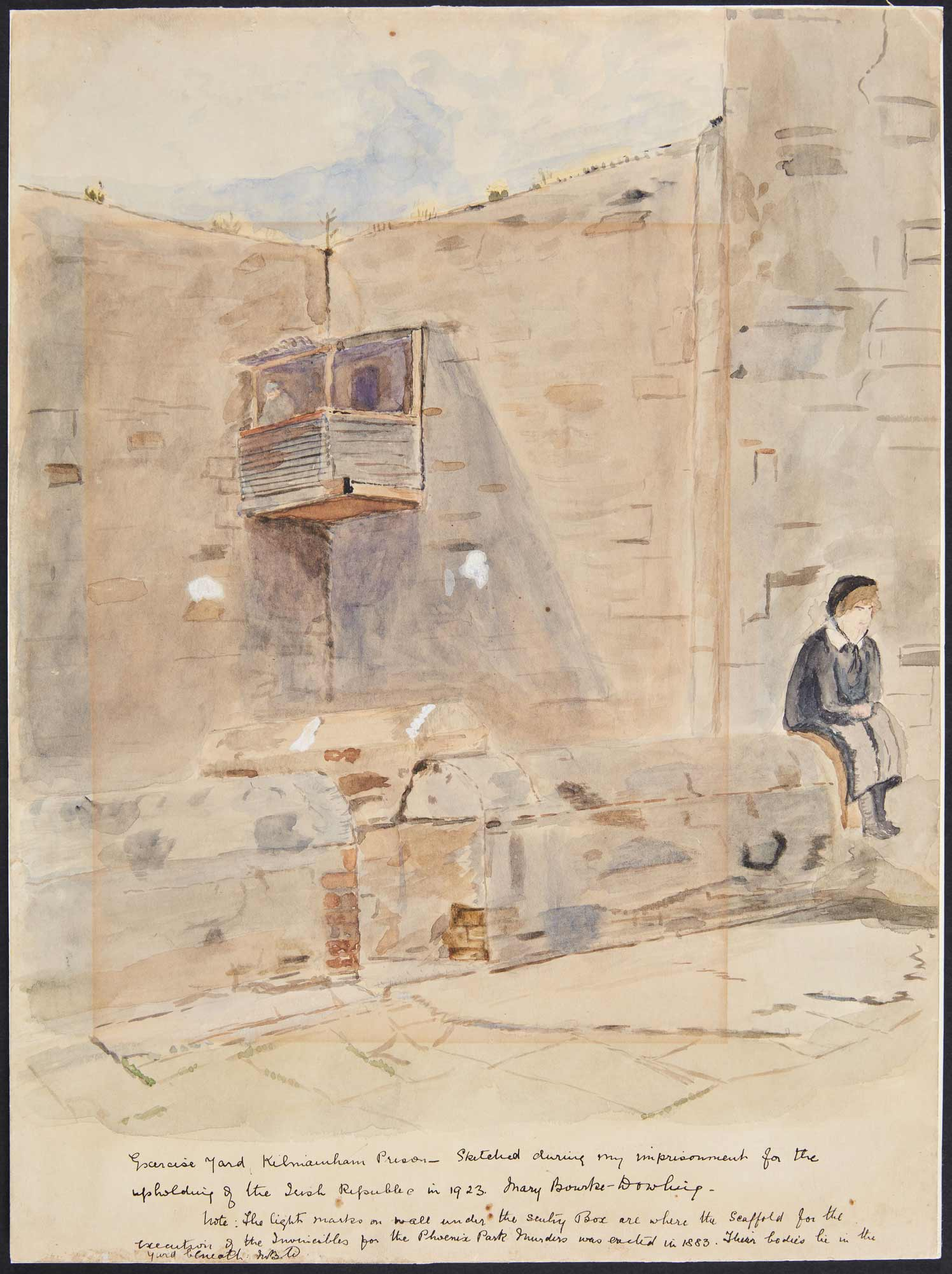 A watercolour of a fellow prisoner in one of the exercise yards around Kilmainham Gaol, painted by Mary Bourke-Dowling in 1923