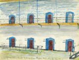 A sketch of the cells in the East Wing of Kilmainham Gaol, painted by Mary Bourke-Dowling in 1923