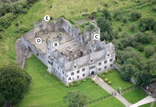 Aerial view of Ormond Castle from the North-East.