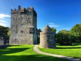 Aughnanure Castle from the south. Note the scars of the roofline on the face of the castle wall.