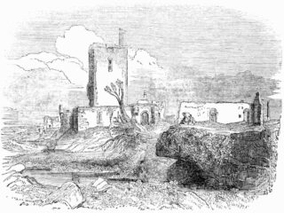 George Petrie's sketch of Aughnanure Castle, 1839. Note the chimneystack of the great kitchen in the centre of the image