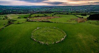 Beltony stone circle at sunset