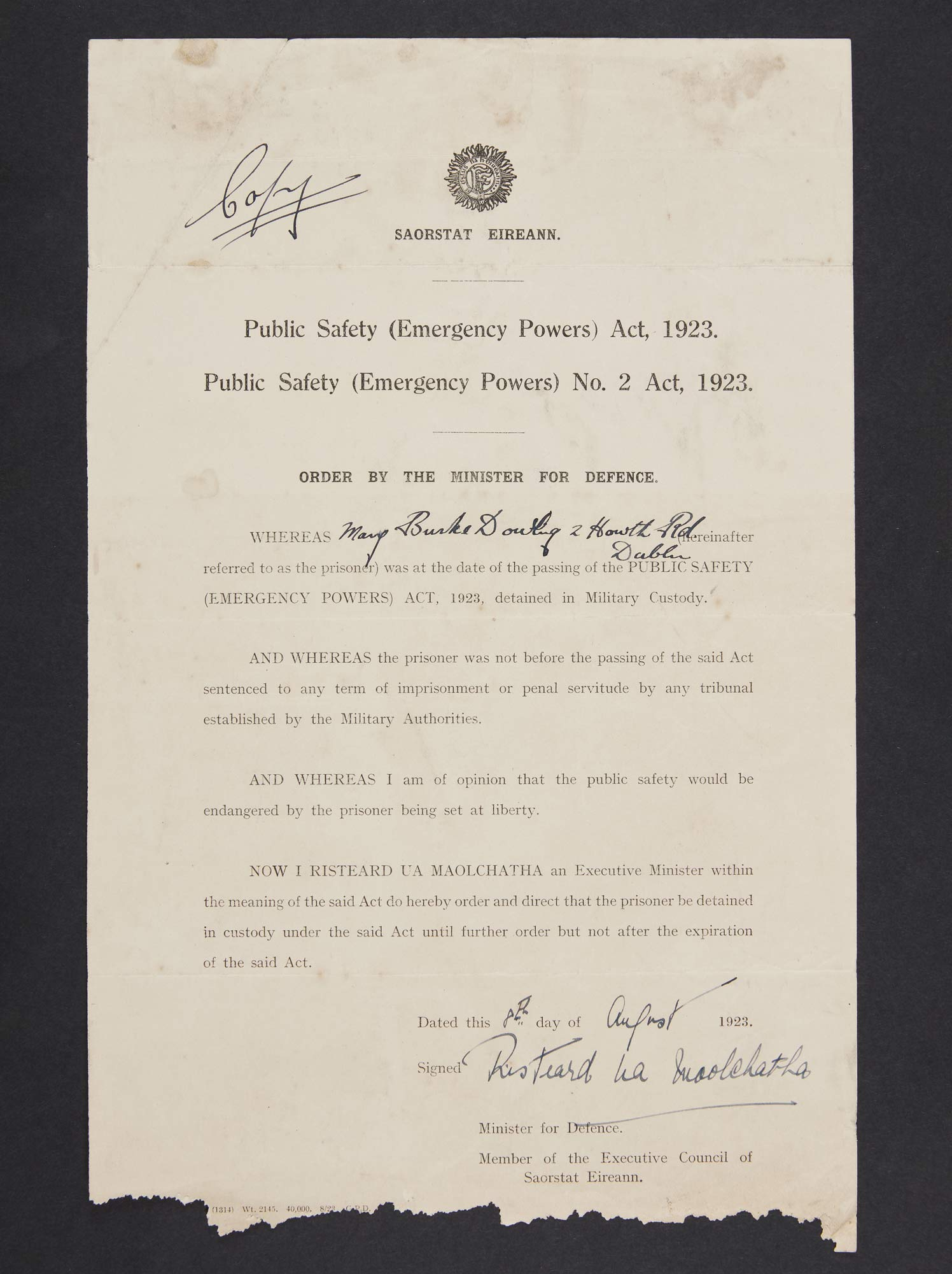 An order for the detention of Mary Bourke-Dowling, signed in August 1923 by Richard Mulcahy, Minister for Defence