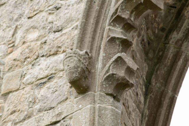 Detail of an arch at Drumlane Abbey.