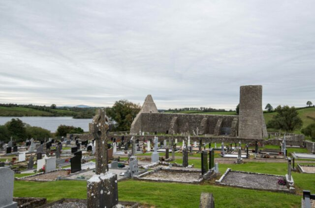 Drumlane Abbey with the shore of Garfinny Lough on the left.