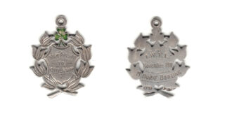 A medal presented to Mary Bourke-Dowling in December 1911 by the Irish Women's Franchise League
