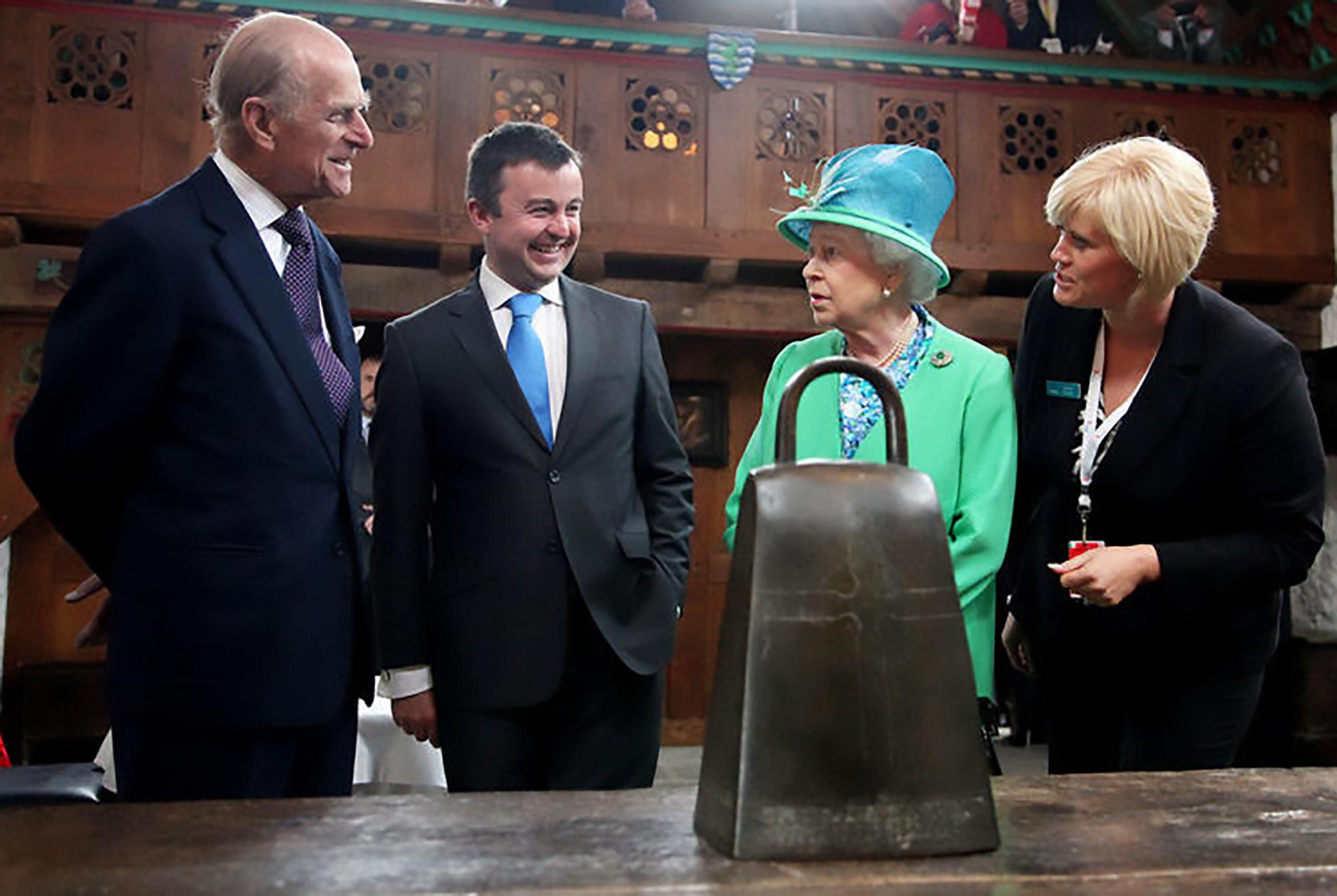 HRH the Duke of Edinburgh, Minister Brian Hayes, HM Queen Elizabeth II, Elaine Moriart