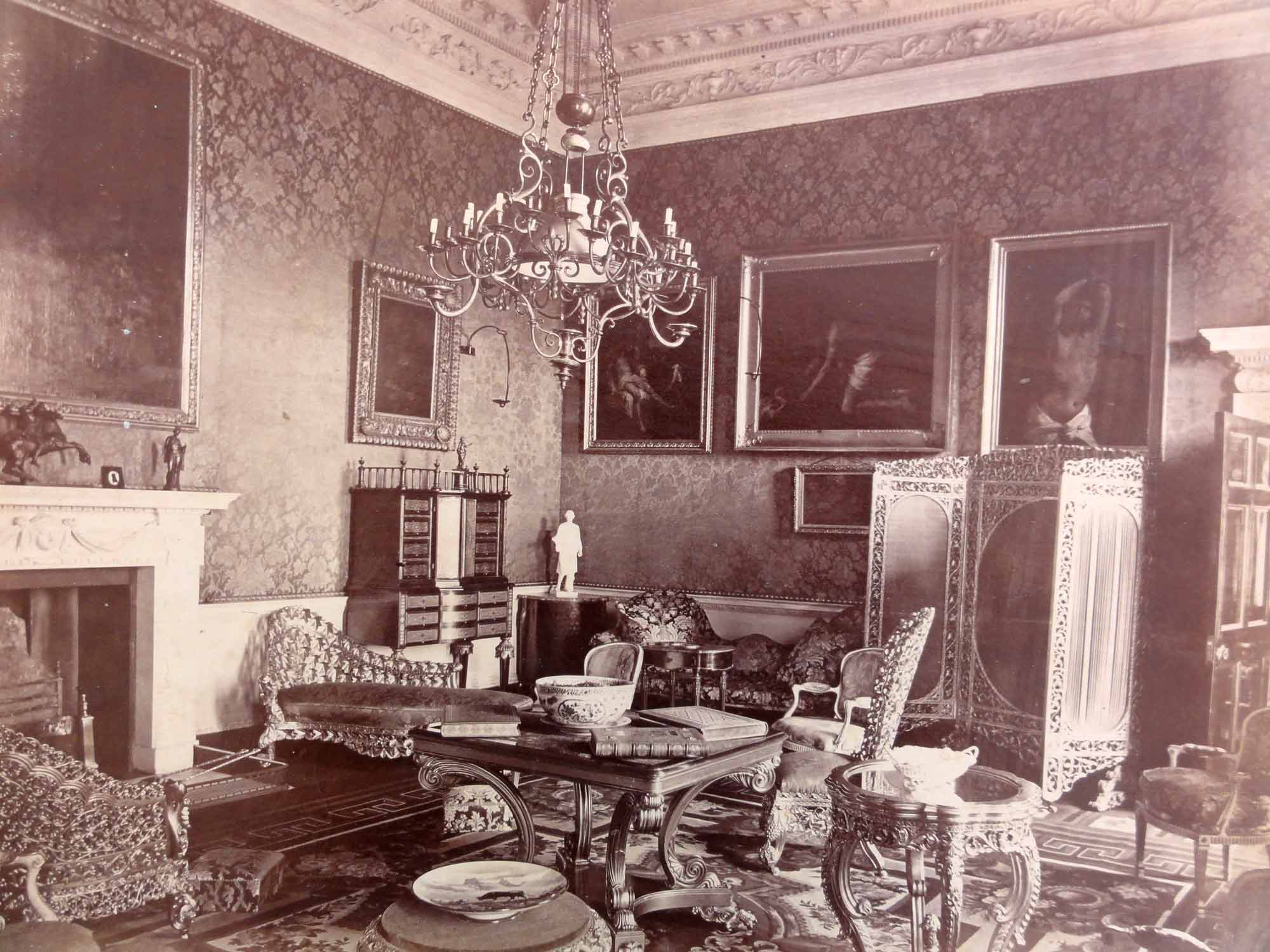Photograph of the Crimson Drawing Room c. 1880 by Henry Shaw