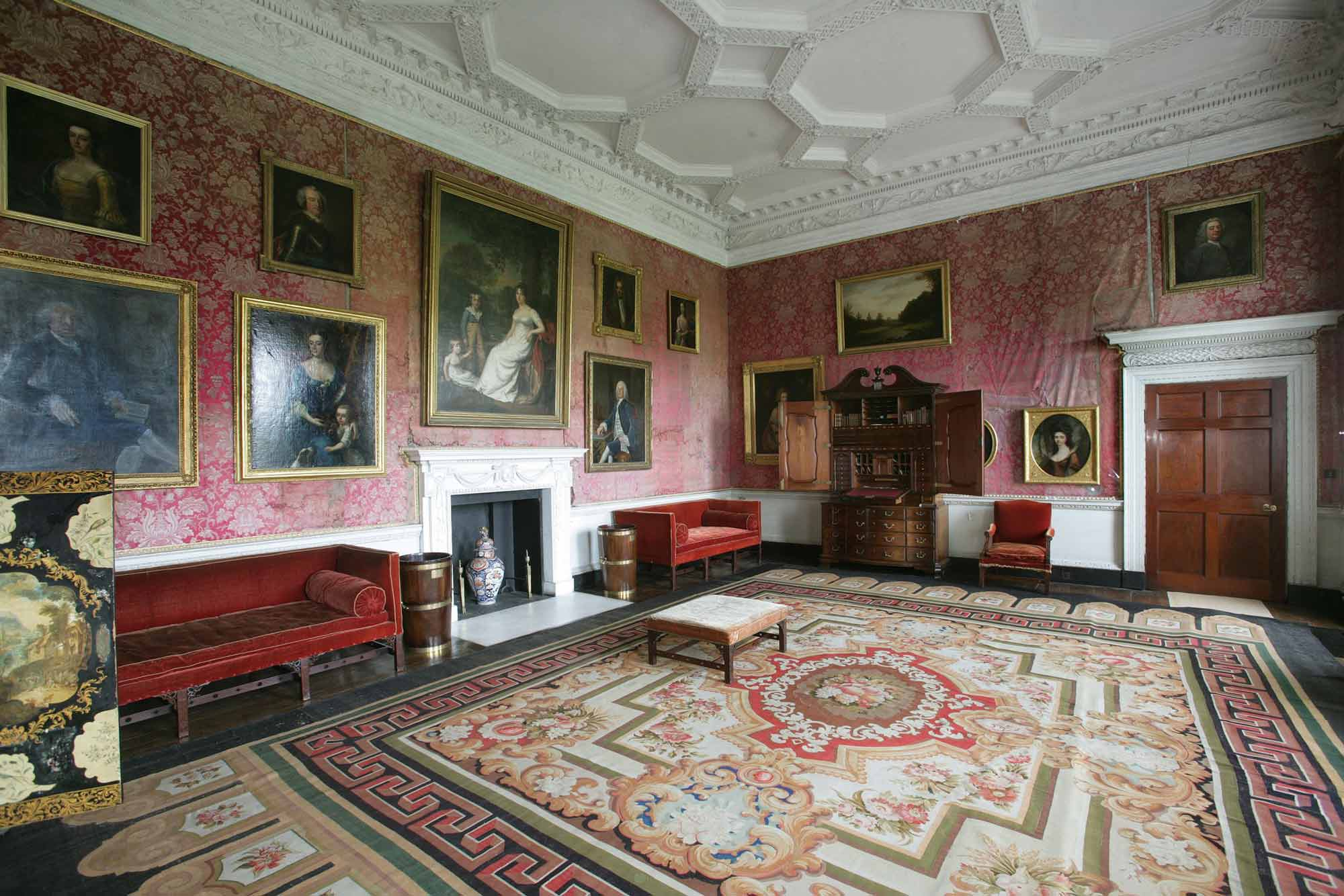 The Red Drawing Room prior to conservation