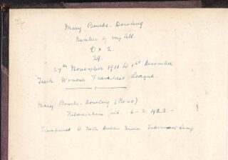 An inscription on the front cover of Mary Bourke-Dowling's scrapbook, memorialising her two periods of imprisonment