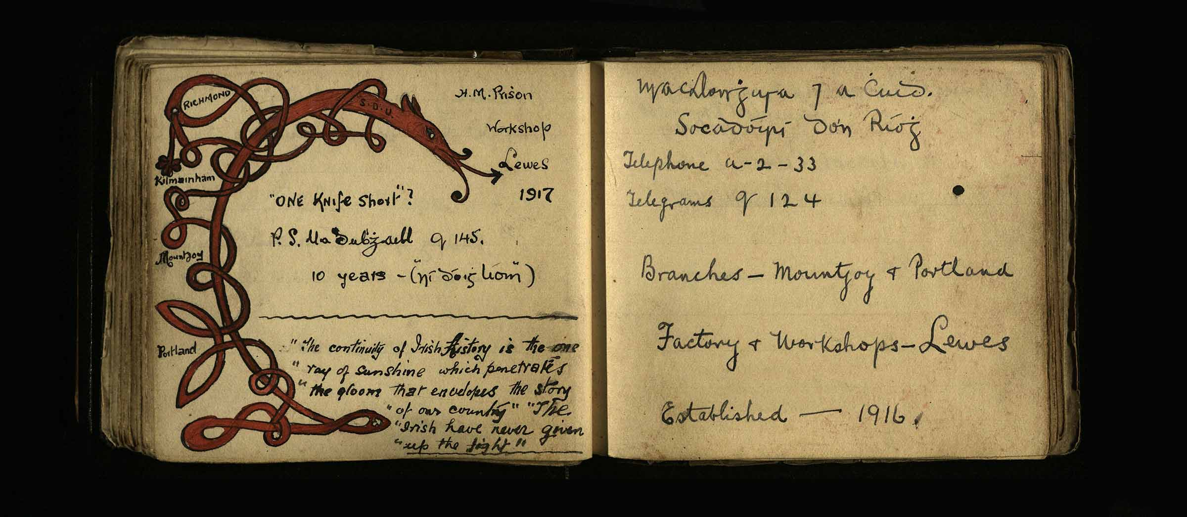 Pages from a Kilmainham Gaol notebook