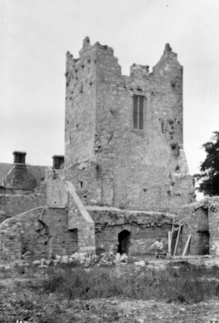 A view of the East Tower from the lower courtyard (1951)