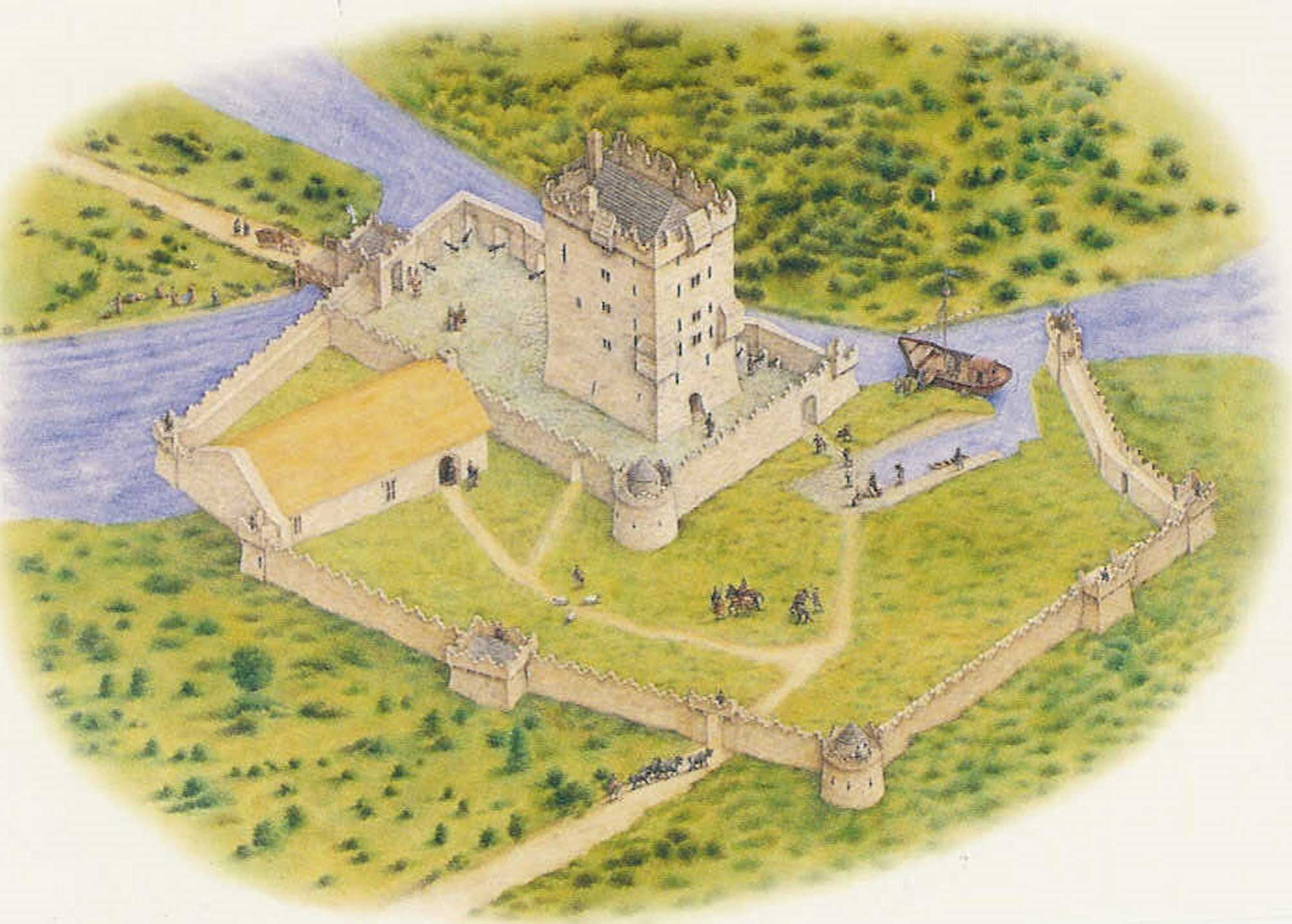 Suggested reconstruction drawings of Aughnanure Castle in the 16th century