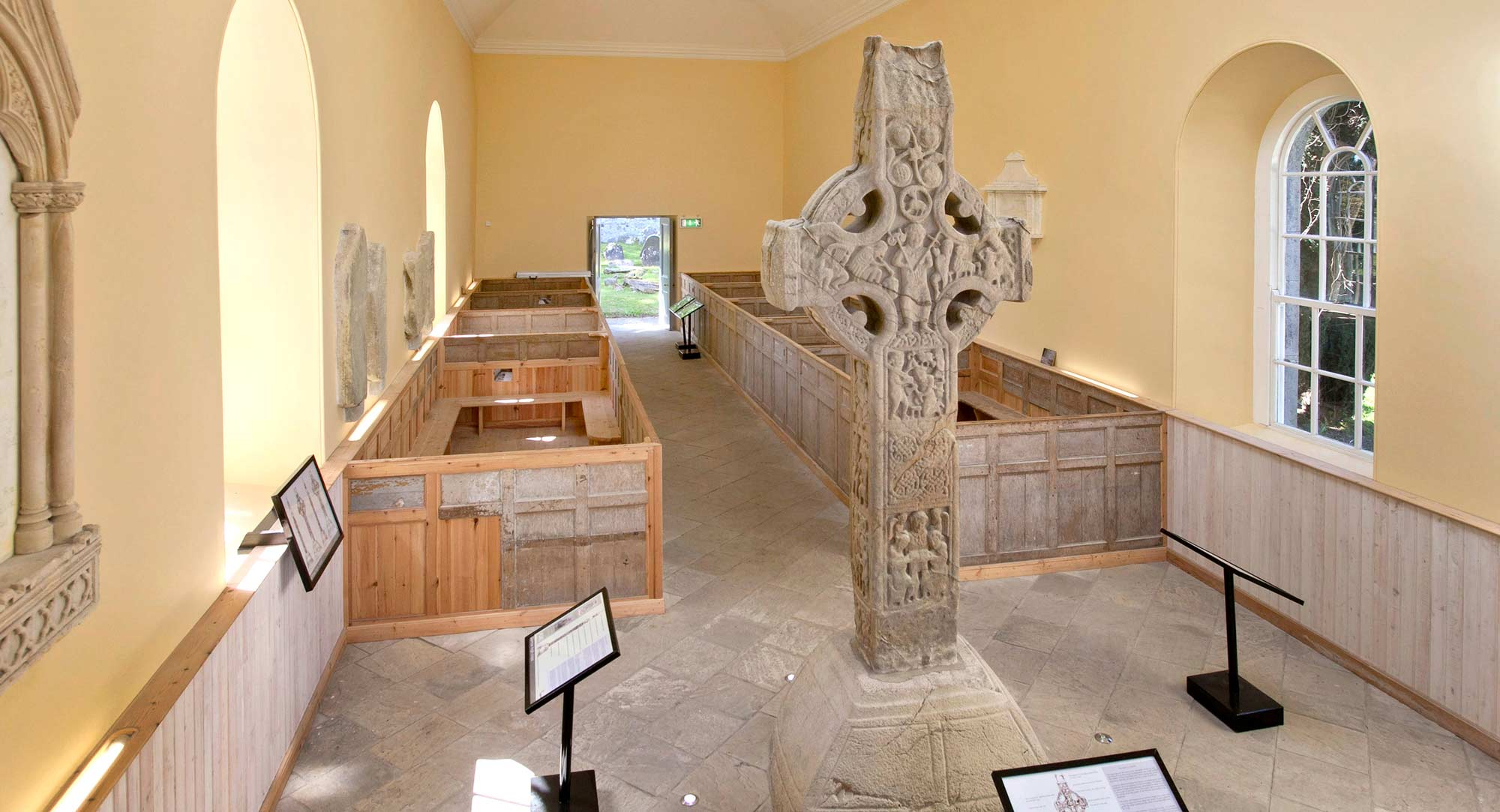 High cross inside Durrow Church. © Photographic Archive, National Monuments Service, Government of Ireland.