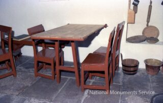 Furniture and kitchen utensils inside Sean Mac Diarmada Cottage