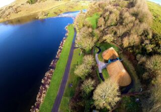 Aerial view of Lough Gur Visitor Centre and lakefront