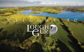 Aerial view Lough Gur with welcome message