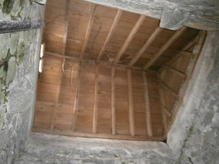 Looking up at the inside of the roof of the tower