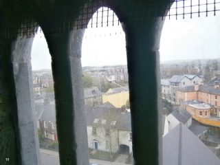 View from window looking west, showing the river Fergus & the Rowan Tree Hostel